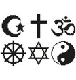 pixel religious symbols set detailed isolated vector image