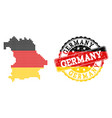 pixelated map of germany colored in german flag vector image vector image