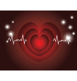 red heart beats with cardiogram vector image vector image