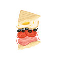 sandwich on triangular toasts with egg vector image vector image