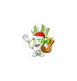 santa claus with gift bag fennel cartoon design vector image vector image