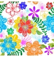 seamless floral background hand drawn flowers vector image vector image
