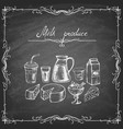 Set hand-drawn dairy products on chalkboard