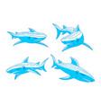 shark logo mascot design outline set template vector image vector image