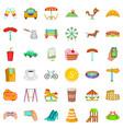 small city icons set cartoon style vector image