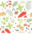 spices seamless pattern hand drawn aromatic vector image