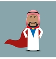 Strong arabian businessman in red cape vector image