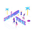 summer time - modern colorful isometric vector image vector image