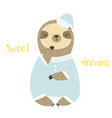 Sweet cute yawning sloth in pyjama and bed cap