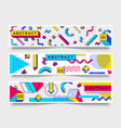 three horizontal banners abstract 90s trends vector image vector image