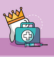 tooth crown syringe and kit first aid vector image
