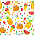 tropical prints pineapple and watermelon coconut vector image vector image