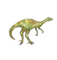 watercolor of dinosaur green allosaurus vector image vector image