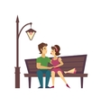Kissing Couple on a Bench flat desing vector image