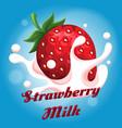 strawberry milk emblem vector image