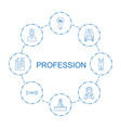 8 profession icons vector image vector image