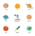 astronomy icon set flat style vector image