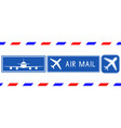 blue postal stamps air mail square signs with vector image vector image