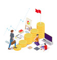 business woman climbing up career ladder with flag vector image