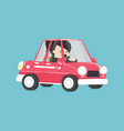 business woman driving business woman in the car vector image