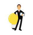 businessman character leaning on a giant light vector image