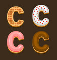 c letter belgium waffles with different toping vector image vector image