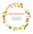 cartoon road construction banner card circle vector image vector image