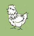 Chicken hand drawn happy white hen vector image