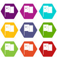 china flag icon set color hexahedron vector image vector image