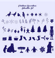 christmas decoration silhouettes set vector image