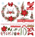 ChristmasNew Year decorPoinsettiaspruce vector image vector image