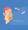 cupid playing love song music on hurp vector image vector image