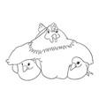 cute chicken line art vector image vector image