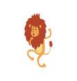 cute funny lion cub cartoon character walking on vector image vector image