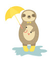 cute funny sloth in yellow boots holding umbrella vector image vector image