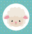 cute sheep head tender character vector image vector image