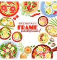 egg dishes frame background vector image