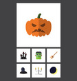 flat icon halloween set of broom pumpkin tomb vector image vector image