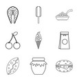 food for work icons set outline style vector image vector image