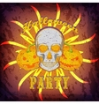 Grunge Halloween party card or poster with skull vector image vector image