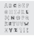 Hand drawn scrapbook alphabet vector image