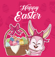 happy easter card cartoon vector image
