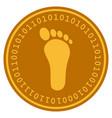 human footprint digital coin vector image vector image