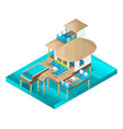 isometry chic bungalow in the maldive islands vector image vector image