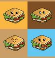 kawaii set sandwich icon with beautiful vector image vector image