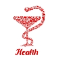 medicine icons in form snake on bowl vector image