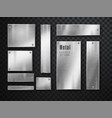 metal banners set realistic metal brushed vector image vector image
