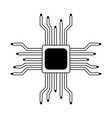 microchip processor symbol in black and white vector image vector image