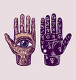 mystical magic palmistry esoteric or alchemy vector image vector image