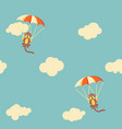 pattern monkeys with parachute vector image vector image